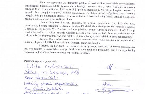 Atviras laiškas dėl patalpų Chemikų g. 136