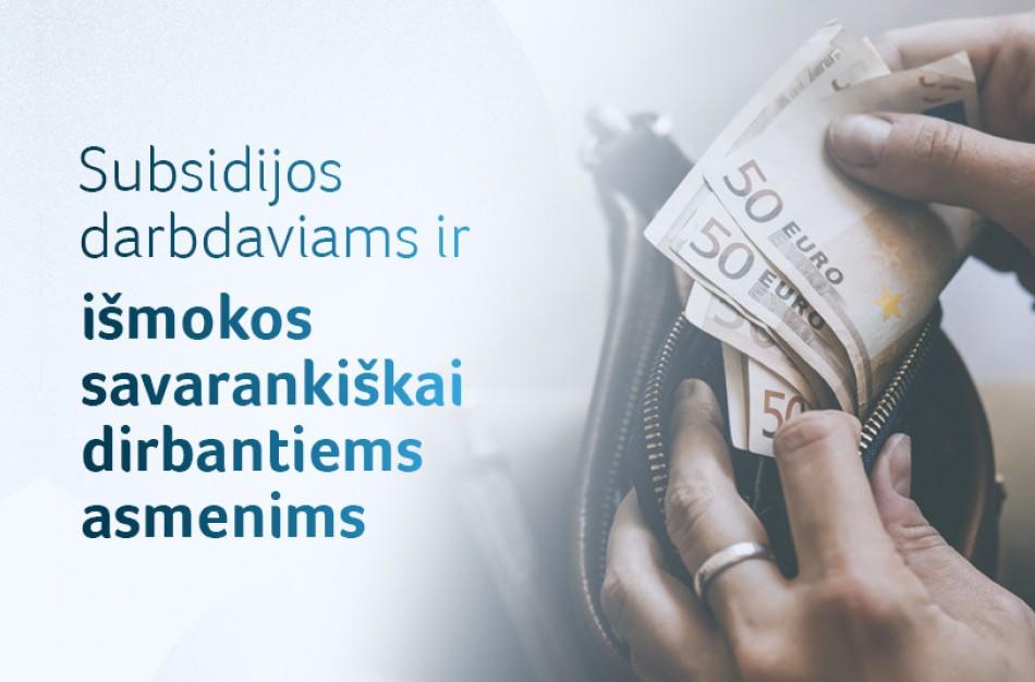 Įmonėms jau išmokėta 6,8 mln. Eur subsidijų, dirbantiems savarankiškai – 6,2 mln. Eur išmokų