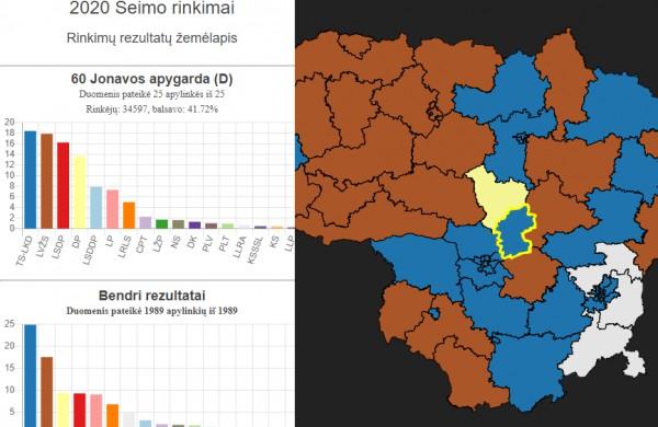 Sukurtas interaktyvus rinkimų žemėlapis