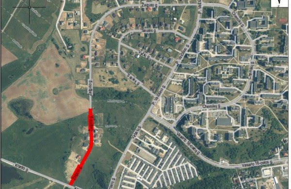 Numatoma Žalgirio g. atkarpos, lietaus nuotekų tinklo bei gatvės apšvietimo nauja statyba