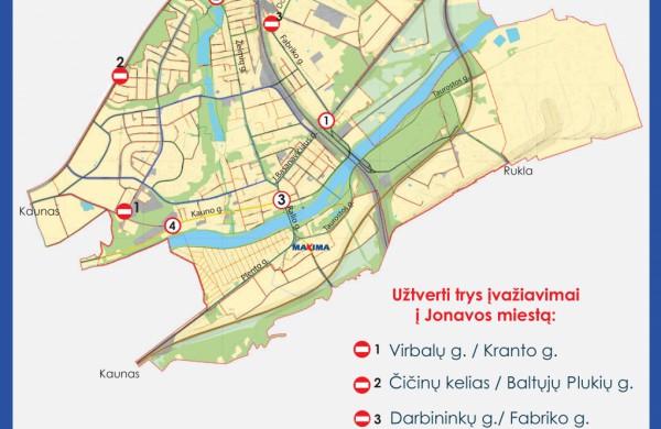 Bus užtverti trys įvažiavimai į Jonavą