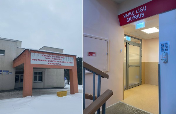 Vaikų ligų skyrius ir Vaikų ligų skyriaus priėmimo kambarys dirba įprastu režimu