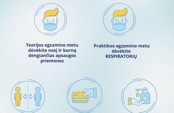 """""""Regitra"""": atvykstantiems į praktikos egzaminus būtina pasirūpinti respiratoriumi"""
