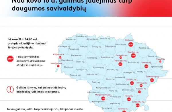 VRM: 44 savivaldybėse neliks judėjimo apribojimų