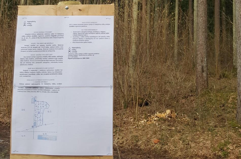 Apie miškuose vykdomus darbus – informaciniai stendai visuomenei