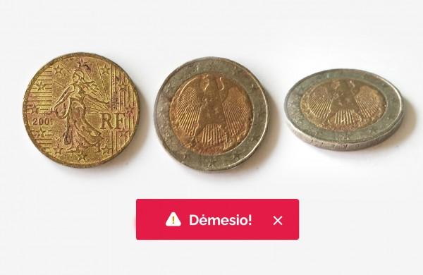 Lietuvos bankas ragina atkreipti dėmesį į gaunamas monetas