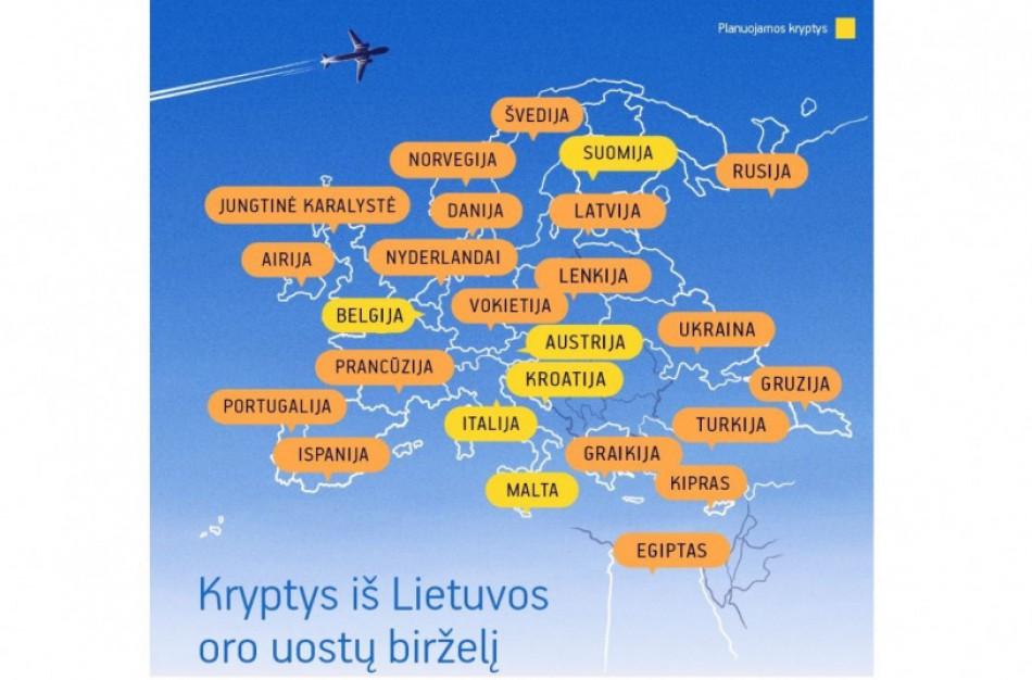 Lietuvos oro uostuose birželį planuojama atnaujinti dar beveik 50 tiesioginių skrydžių maršrutų