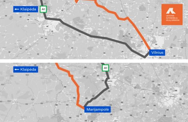 Važiuojantiems magistraliniu keliu A1 – rekomenduojama rinktis alternatyvius maršrutus. Vienas siūlomų maršrutų veda per Jonavą