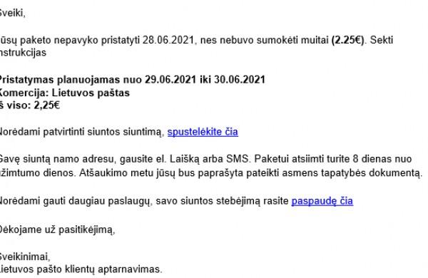 Prisidengiant Lietuvos pašto vardu plinta apgaulingi laiškai