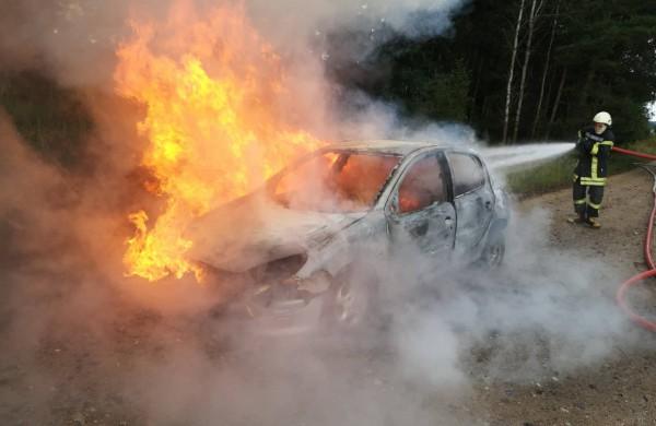 """Gaižiūnų kaimo miške degė """"Peugeot 206"""""""