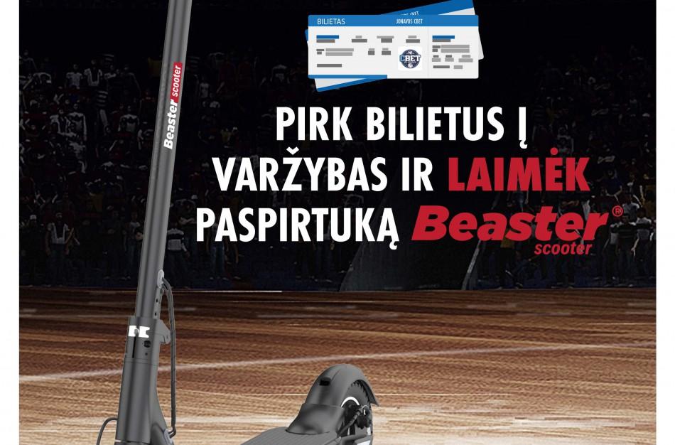 """Pirkite bilietą į Jonavos """"CBet"""" – Kauno """"Žalgirio"""" rungtynes ir laimėkite naujutėlaitį  """"Beaster"""" paspirtuką rungtynių metu"""